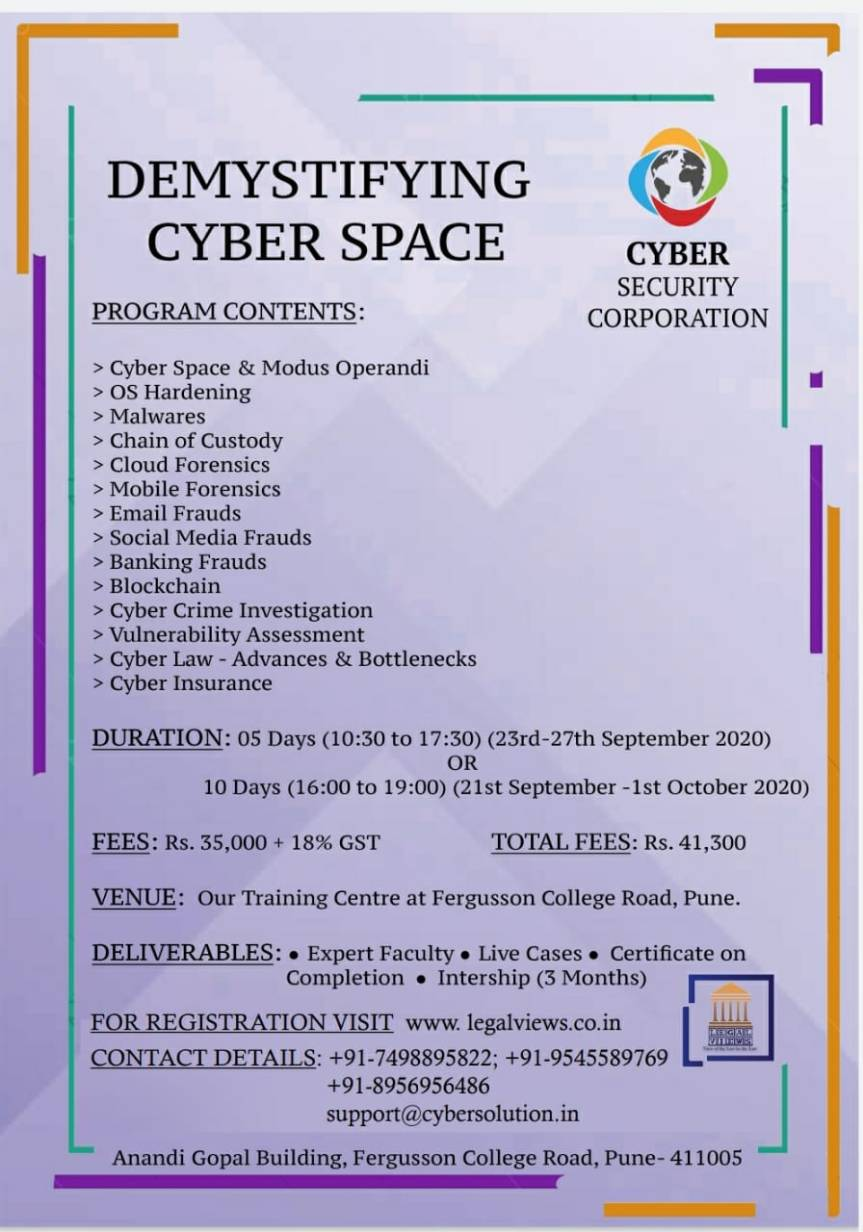 LEGAL VIEWS Course on Cyber Forensic in collaboration with Cyber security corporation – REGISTER NOW!!