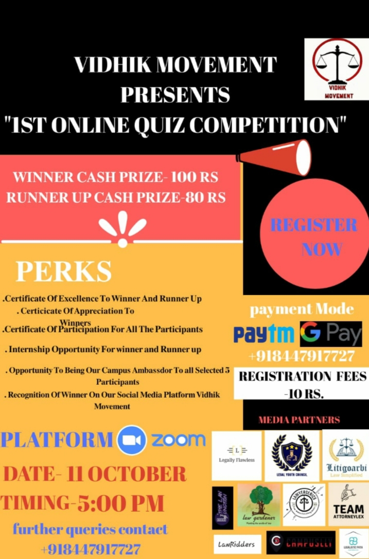 VIDHIK MOVEMENT PRESENTS 1ST ONLINE QUIZ COMPETITION – Register by 11thOctober