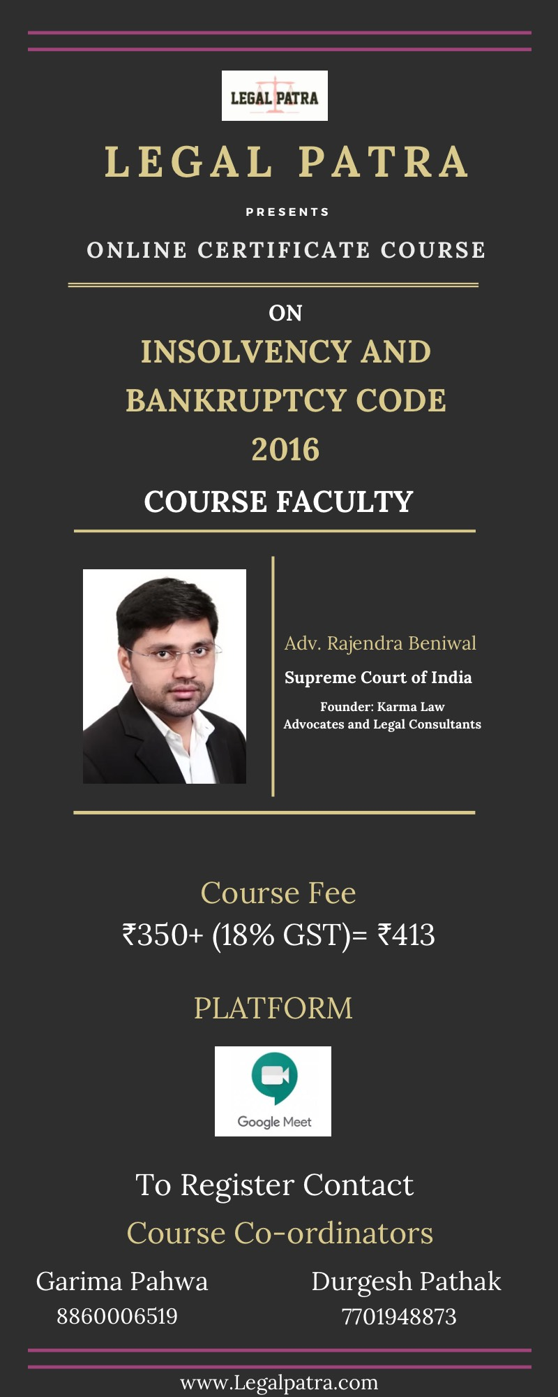 LEGAL PATRA – CERTIFICATE COURSE ON INSOLVENCY AND BANKRUPTCY CODE 2016 – REGISTER BEFORE 30THOCTOBER