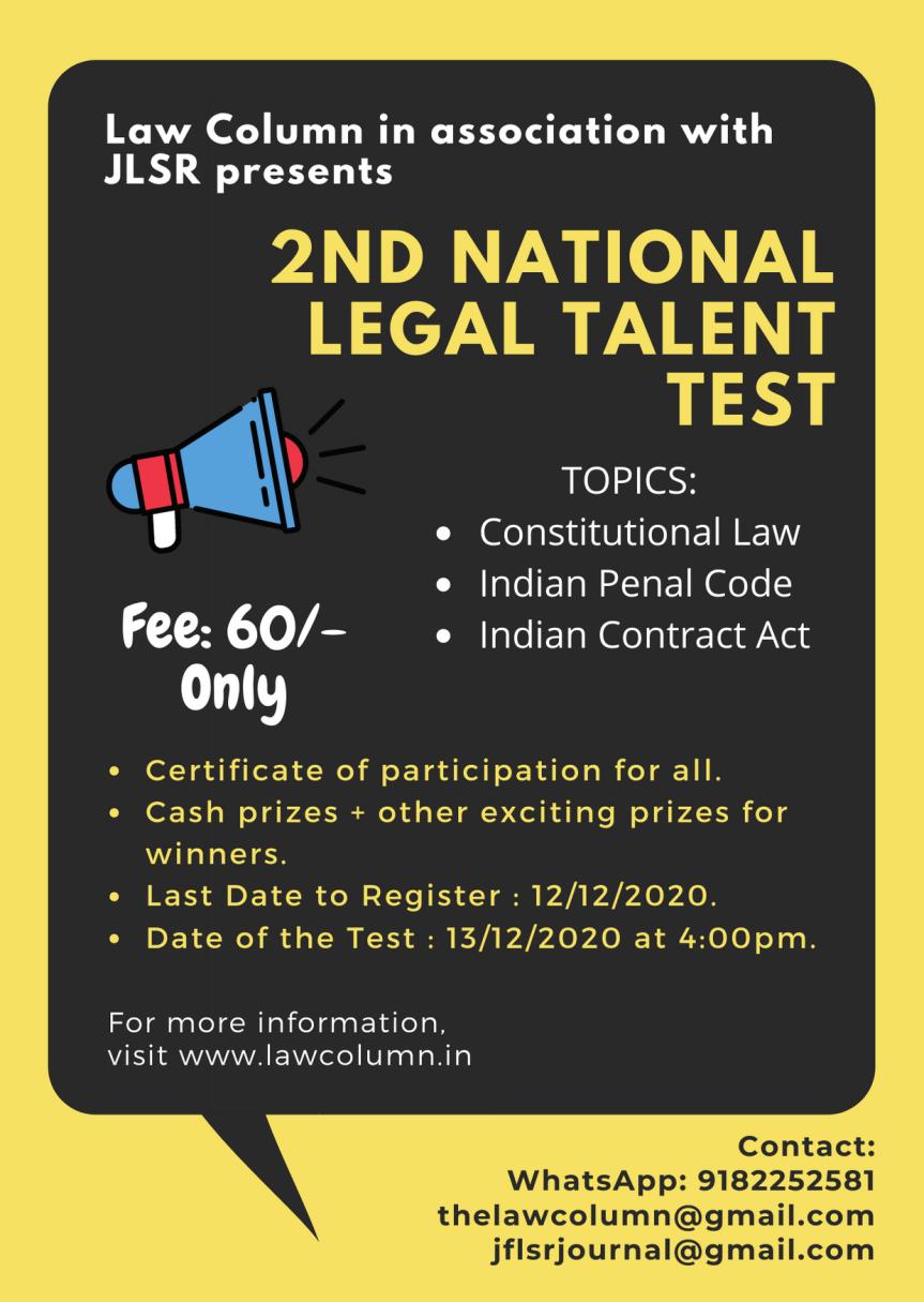 LAWCOLUMN'S NATIONAL LEGAL TALENT TEST IN ASSOCIATION WITH JLSR : REGISTERNOW!!!