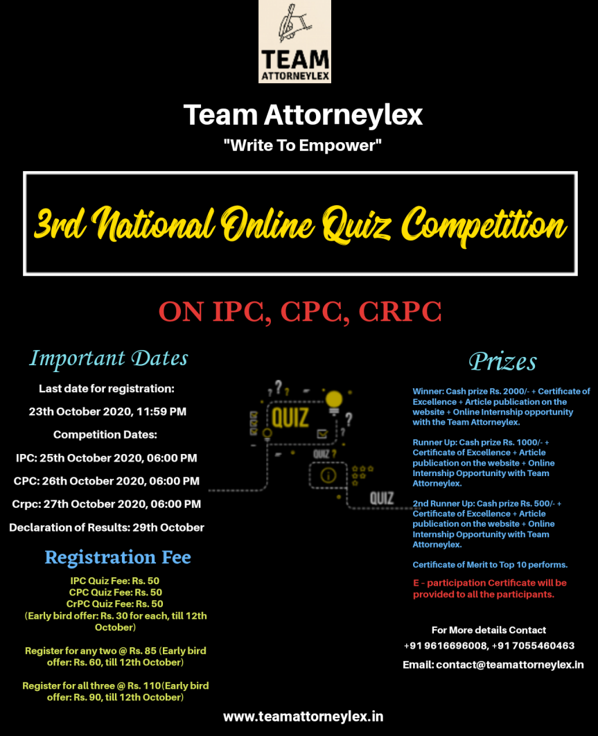 Team Attorneylex Online Quiz Competition on IPC, CPC, CrPC [October 25, 26, 27]: Register by October23