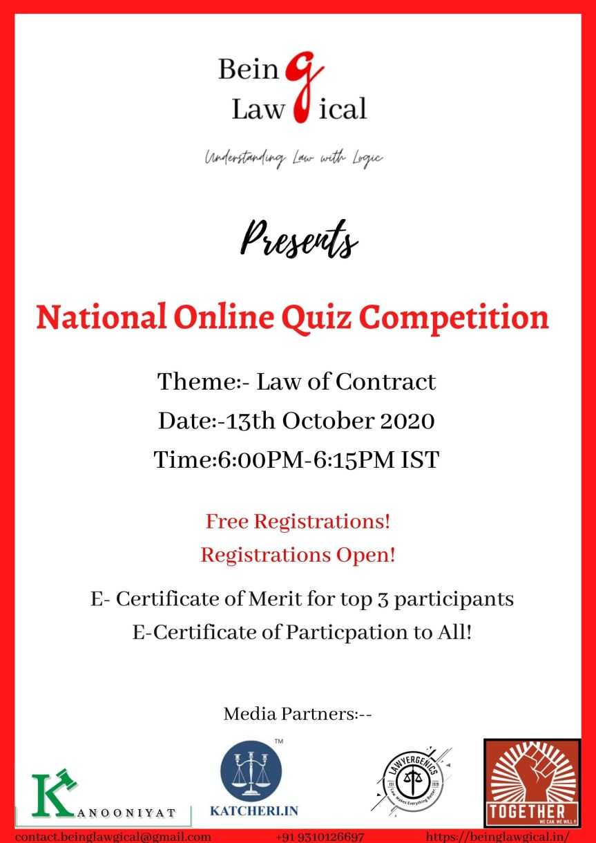 NATIONAL ONLINE QUIZ COMPETITION BY BEING LAWGICAL – Register by 12thOctober