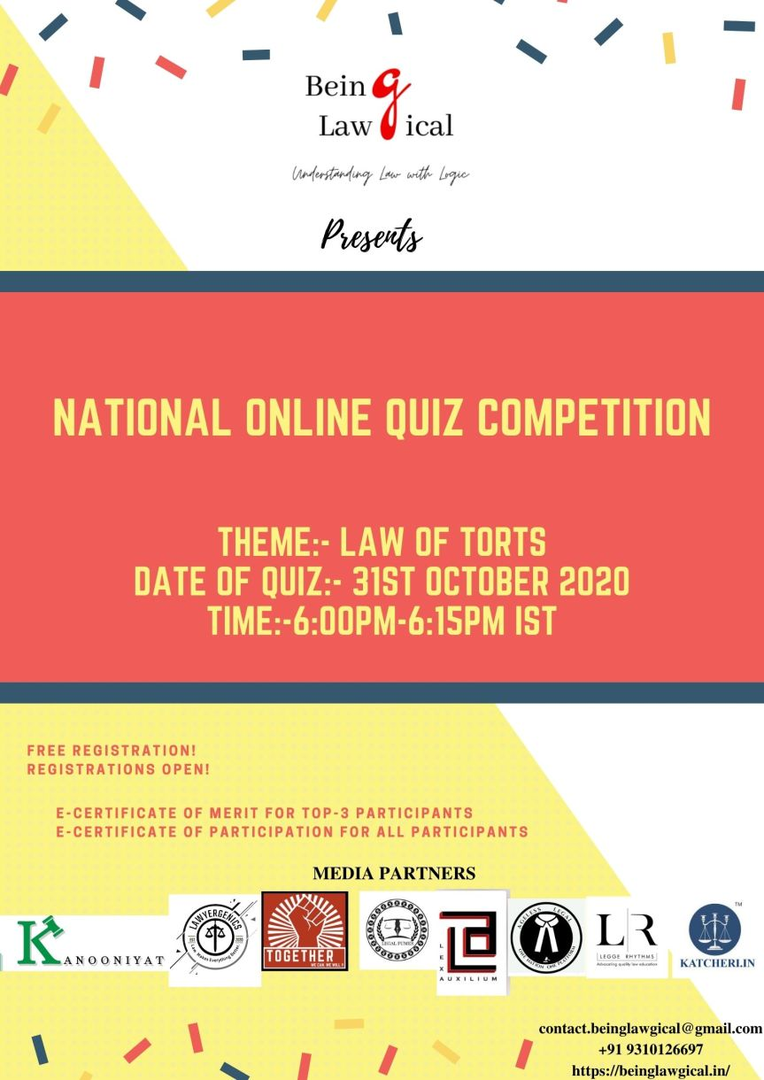NATIONAL ONLINE QUIZ COMPETITION BY BEING LAWGICAL – Register before 31stOctober