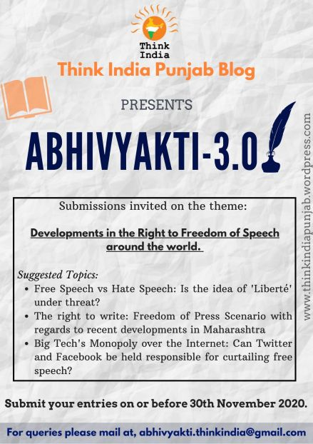Think India – Call for Blogs – Abhivyakti 3.0 – Submit by 30th November
