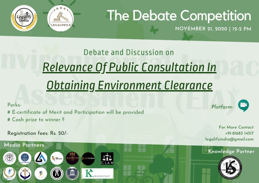 LEGALPHILE In collaboration with LEGALIFY INDIA Presents DEBATE COMPETITION – Register by 19th November