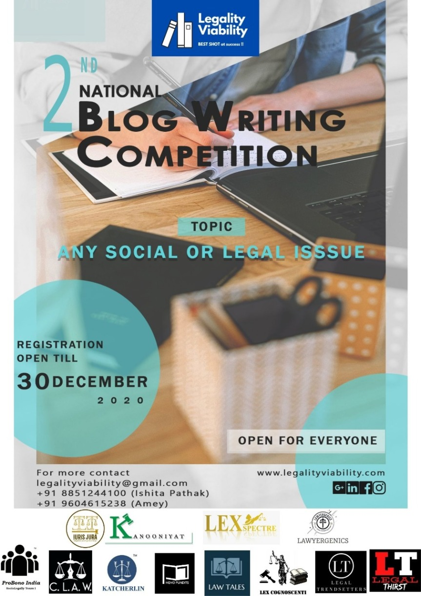 LEGALITY VIABILITY's 2nd NATIONAL BLOG WRITING COMPETITION – Register by 30th December