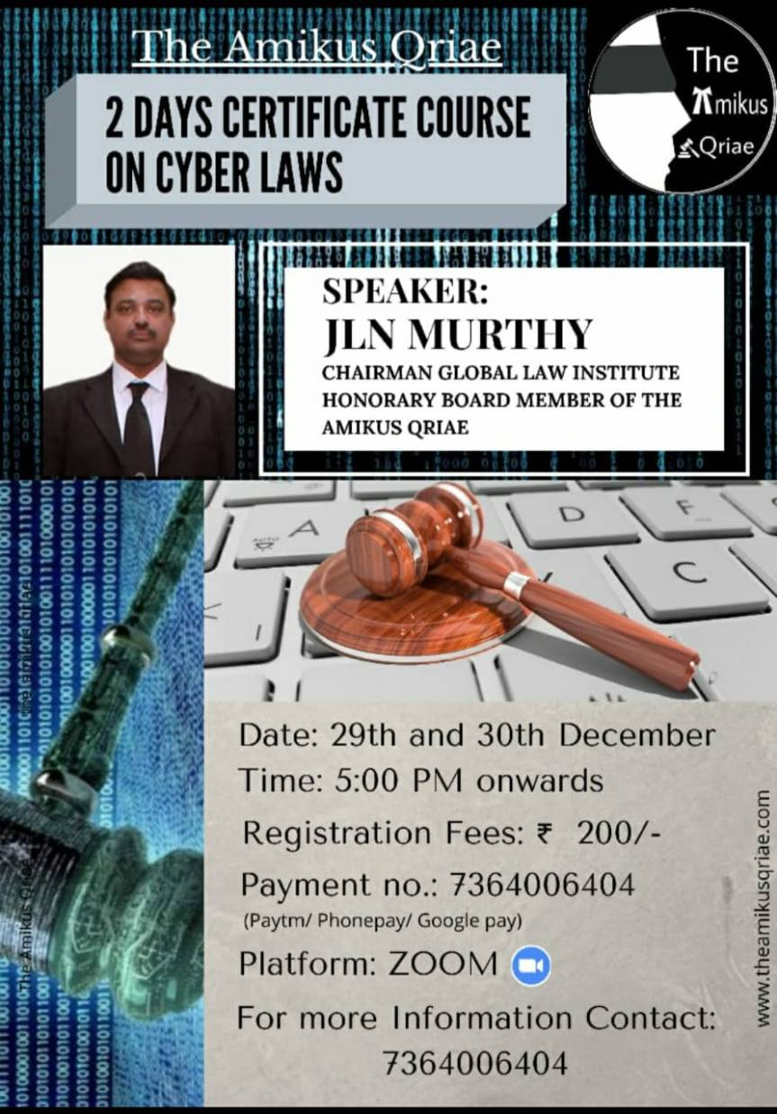 Amikus Qriae Presents 2 days Certificate Course on Cyber Laws – Register Before 29thDec