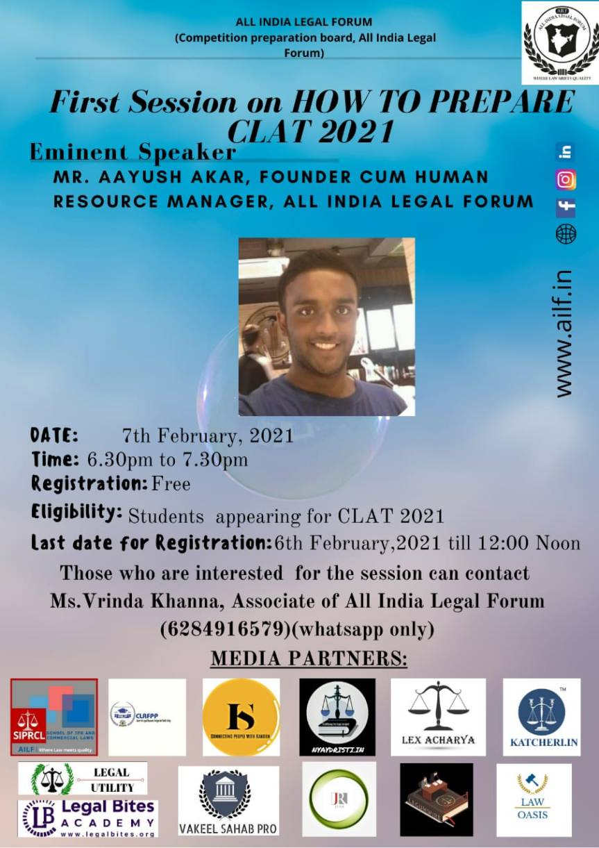 """COMPETITION BOARD OF ALL INDIA LEGAL FORUM PRESENTS A WEBINAR ON """"HOW TO PREPARE FOR CLAT 2021″ – REGISTER BY 6THFEB"""