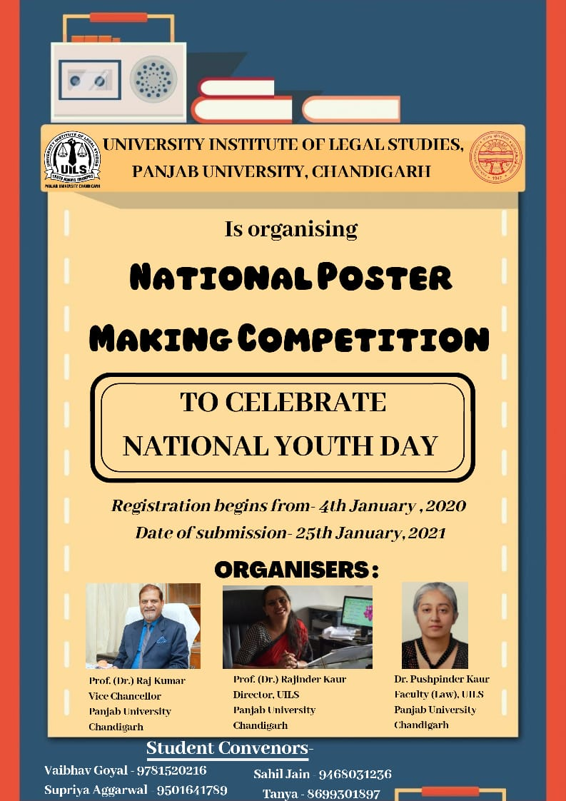 University Institute Of Legal Studies, Panjab University, Chandigarh Presents Poster-Making Competition – Submit by 25th Jan