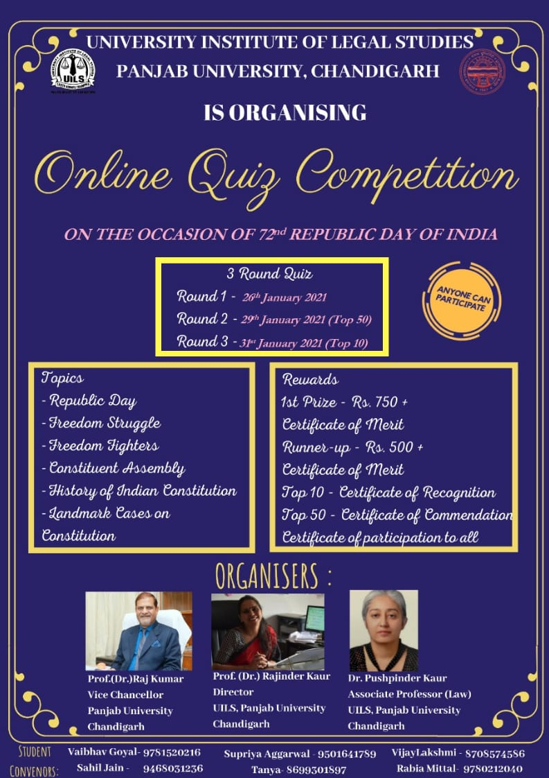 University Institute Of Legal Studies, Panjab University, Chandigarh Presents Republic Day Quiz – Register by 24th Jan
